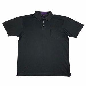 Ralph Lauren Purple Label Men Black Polo Shirt w/ Pocket Collar Short Sleeve Lrg